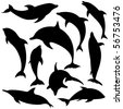 Vector Dolphins. These illustrations are in layer and are easy to edit color. - stock vector
