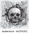 vector grunge halftone background with a skull - stock vector