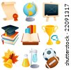 Vector illustration - Education and graduation icon set. - stock vector