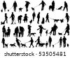 Vector illustration of people with dog - stock vector