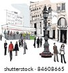 Vector illustration of Stockholm city street scene - stock vector