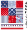 Vector patchwork nautical patterns.  Use to create quilting patches or seamless backgrounds for various craft projects. - stock vector