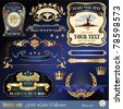 Vector set: gold-framed labels, ribbon, ornaments and elements on different topics for decoration and design - stock vector