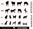 Vector set illustration: farm animals isolated on white - stock vector