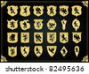 Vintage golden royal coat of arms shields collection illustration - stock vector