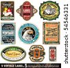 Vintage Labels Collection - 9 design elements with original antique style -Set 5 - stock vector