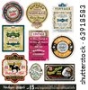 Vintage Labels Collection - nine design elements with original antique style -Set 15 - stock vector