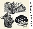 vintage  movie cameras-original hand drawn collection - stock vector