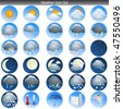 Weather Icon Set isolated on white vector - stock vector