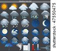 Weather vector Icon set on grey background - stock vector