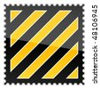 Yellow hazard warning postage stamp with warning stripes on white - stock vector