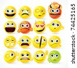 Yellow Smileys icon set - vector cartoon funky emoticons - stock vector